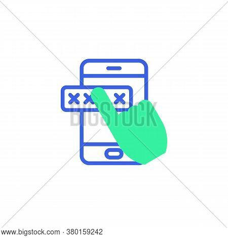 Entering Password On Smartphone Screen Icon Vector, Mobile Phone Security Filled Flat Sign, Bicolor