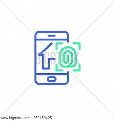 Smartphone With Smart Home Security System Icon Vector, Smart Home Fingerprint Security Filled Flat