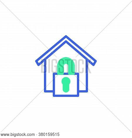 Home Security Lock Icon Vector, Filled Flat Sign, Home Lock Bicolor Pictogram, Green And Blue Colors