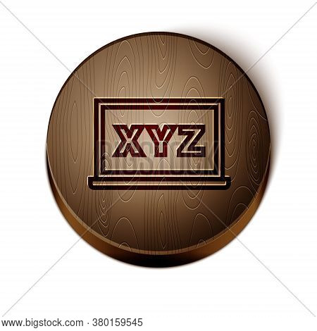 Brown Line Xyz Coordinate System On Chalkboard Icon Isolated On White Background. Xyz Axis For Graph