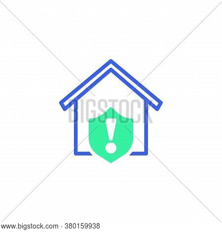 Home Protection Shield Warning Icon Vector, Filled Flat Sign, Home Security Warning Bicolor Pictogra