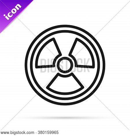 Black Line Radioactive Icon Isolated On White Background. Radioactive Toxic Symbol. Radiation Hazard