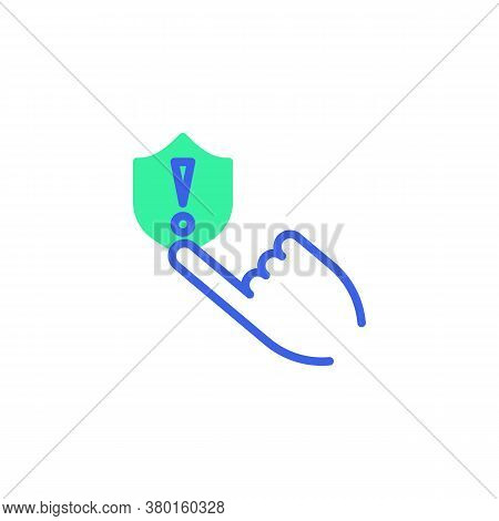 Hand Press Protection Shield Icon Vector, Filled Flat Sign, Security System Warning Bicolor Pictogra