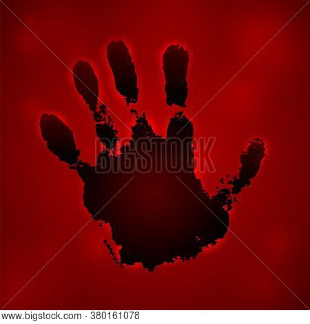 Hand Paint Print 3d, Isolated Red Background. Black Human Palm And Fingers. Abstract Art Design, Sym