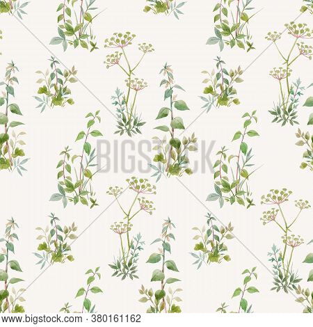 Beautiful Seamless Floral Pattern With Watercolor Forest Plants. Stock Illustration.