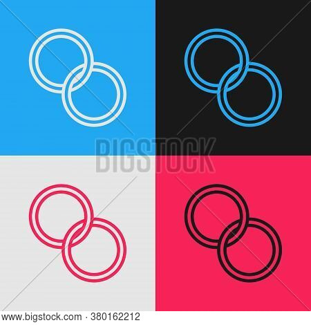 Pop Art Line Wedding Rings Icon Isolated On Color Background. Bride And Groom Jewelry Sign. Marriage