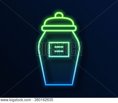Glowing Neon Line Funeral Urn Icon Isolated On Blue Background. Cremation And Burial Containers, Col