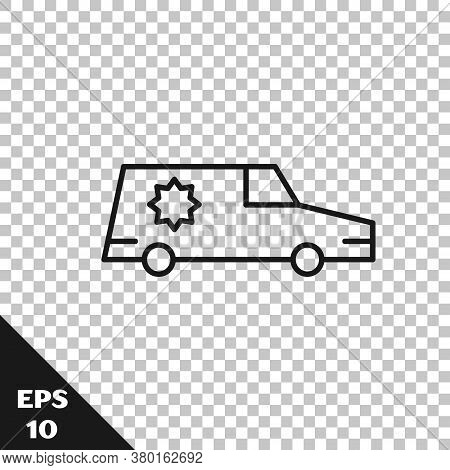 Black Line Hearse Car Icon Isolated On Transparent Background. Vector