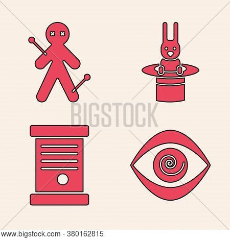 Set Hypnosis, Voodoo Doll, Magician Hat And Rabbit And Decree, Paper, Parchment, Scroll Icon. Vector