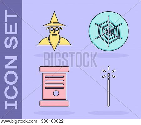 Set Magic Wand, Wizard Warlock, Decree, Paper, Parchment, Scroll And Spider Web Icon. Vector