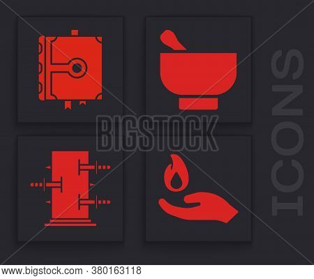 Set Hand Holding A Fire, Ancient Magic Book, Magic Mortar And Pestle And Trunk For Magic Tricks Icon