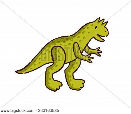 Cute Hand Drawn Dinosaur Baby Toy Vector Flat Illustration. Amusing Childish Stuff Animal With Tail
