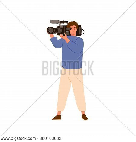 Media Man Holding Camera With Microphone. Professional Camcorder, Cameramen, Operator, Videographer.