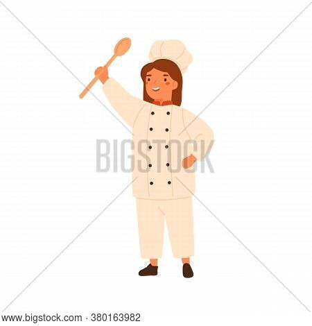 Adorable Little Chef Portrait, Cute Girl In Cook Uniform. Child In Chefs Hat, Toques. Smiling Kid Ho