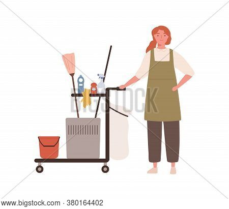 Room Maid, Janitor Woman In Cleaning Office Service Uniform. Maid Woman Standing By Cart, Cleaning E