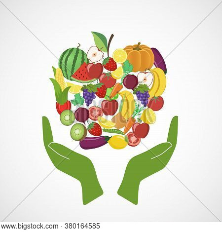 Vegetables And Fruits With The Image Of Hands. Watermelon, Pumpkin, Carrot, Tomato, Apple, Onion, Eg