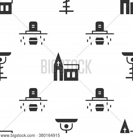 Set Grave With Cross, Church Building And Grave With Coffin On Seamless Pattern. Vector