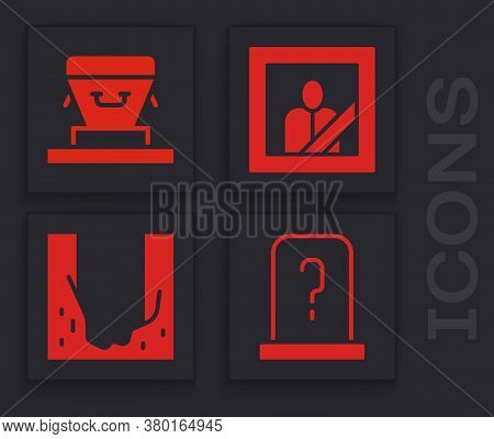 Set Grave With Tombstone, Coffin, Mourning Photo Frame And Cemetery Digged Grave Hole Icon. Vector