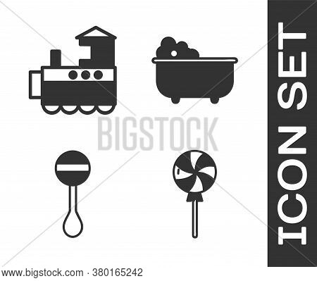 Set Lollipop, Toy Train, Rattle Baby Toy And Baby Bathtub Icon. Vector