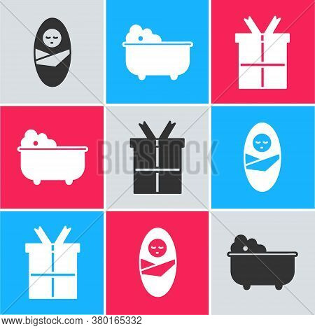 Set Newborn Baby Infant Swaddled, Baby Bathtub And Gift Box Icon. Vector