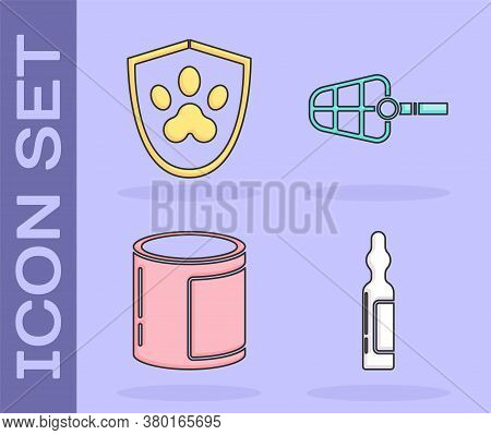 Set Pets Vial Medical, Animal Health Insurance, Canned Food And Dog Muzzle Icon. Vector