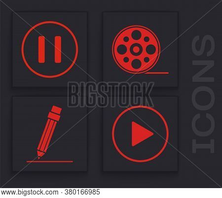 Set Play In Circle, Pause Button, Film Reel And Pencil With Eraser Icon. Vector