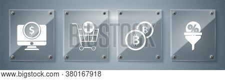 Set Lead Management, Cryptocurrency Coin Bitcoin, Add To Shopping Cart And Computer Monitor With Dol