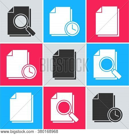 Set Document With Search, Document With Clock And Document Icon. Vector