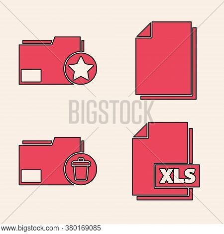 Set Xls File Document, Document Folder With Star, Document And Delete Folder Icon. Vector