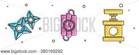 Set Japanese Ninja Shuriken, Dynamite Stick And Timer Clock And Handle Detonator For Dynamite Icon.