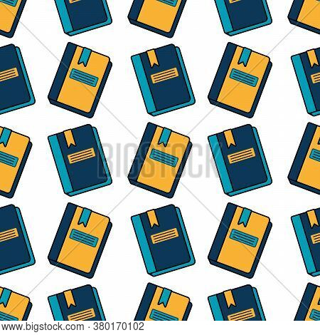 Seamless Pattern With Notebooks, Diaries, And Sketchbooks On A White Background. Vector Flat Illustr