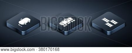 Set Isometric Oil Industrial Factory Building, Barrel Oil And Oil Railway Cistern Icon. Vector