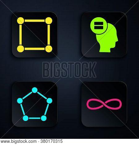 Set Infinity, Geometric Figure Square, Geometric Figure Pentagonal Prism And Calculation. Black Squa