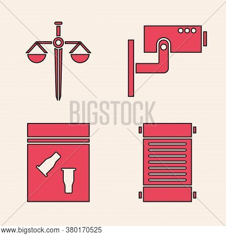Set Decree, Paper, Parchment, Scroll, Scales Of Justice, Security Camera And Evidence Bag And Bullet