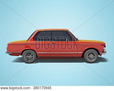 3d Rendering Red Classic Car On Blue Background With Shadow