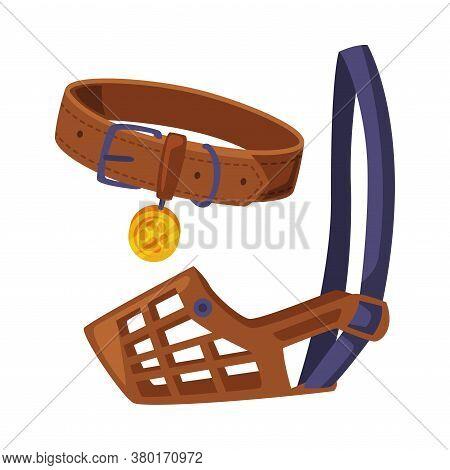 Dog Accessories Set, Pet Animal Stuff, Leather Dog Muzzle And Collar Cartoon Style Vector Illustrati