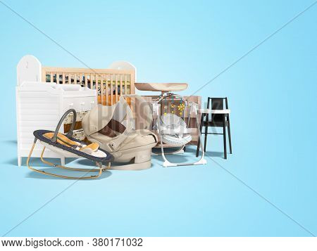 3d Rendering Concept Of Group Of Furniture For Child For Sleeping And Hygiene Bed For Baby Chair For