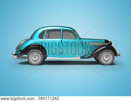 3d Rendering Classic Retro Car Blue On Blue Background With Shadow