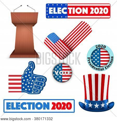 Labels Of Usa Election 2020. Presidential Election Of United States. Editable Vector Illustration Is