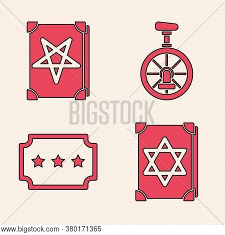 Set Ancient Magic Book, Ancient Magic Book, Unicycle Or One Wheel Bicycle And Ticket Icon. Vector