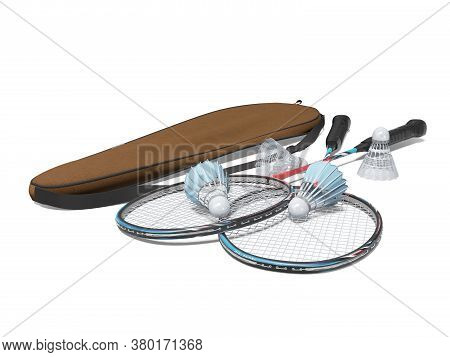 3d Rendering Set Of Badminton Rackets For Adults On White Background With Shadow