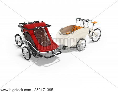 3d Rendering Set Of White Adult Bicycle With Stroller For Children Of An Open Type On White Backgrou