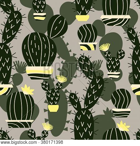 Hand Drawn Succulents And Cacti Seamless Pattern. Vegetative Ornament. Background With Floral Print.