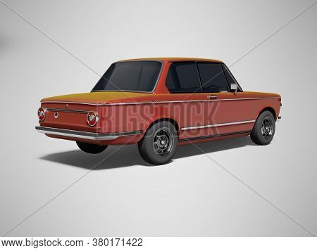 3d Rendering Red Classic Car With Tinted Windows Rear View On Gray Background With Shadow