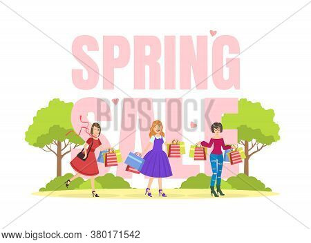 Spring Sale Banner Template, Young Women Taking Part In Seasonal Sale At Store Or Mall, Girls Carryi