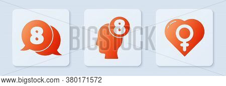Set 8 March In Human Head, 8 March In Speech Bubble And Female Gender In Heart. White Square Button.