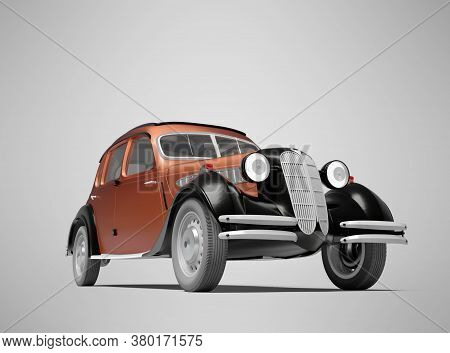 3d Rendering Classic Retro Red Passenger Car On Gray Background With Shadow