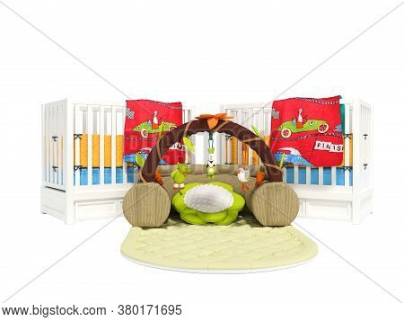 3d Rendering White Two Wooden Cribs For Child With Play Mat On White Background No Shadow
