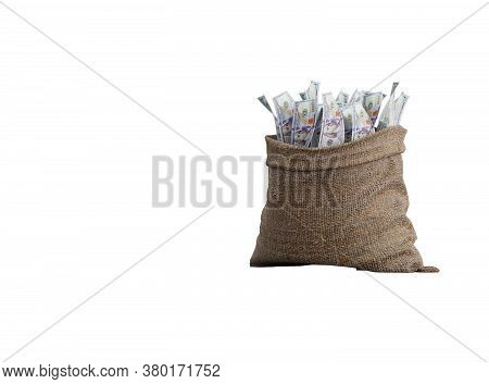 3d Rendering Money Falling In Bag On White Background No Shadow