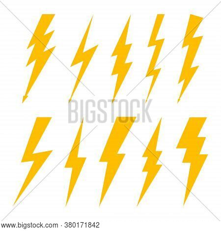 Lightning Bolt. Flash Of Thunderbolt. Icon Of Thunder, Thunderstorm And Electric Power. Orange Logo